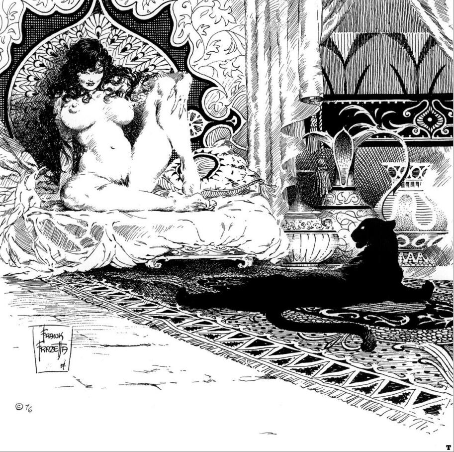 Frank Frazetta – Black & White(弗兰克·弗雷泽塔-插画线稿)